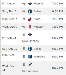 Upcoming Wizards schedule