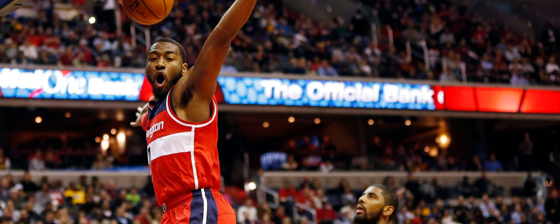 Washington Wizards Blog - John Wall dunks past Kyrie Irving