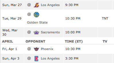 5 game road trip starting Sunday-Sunday