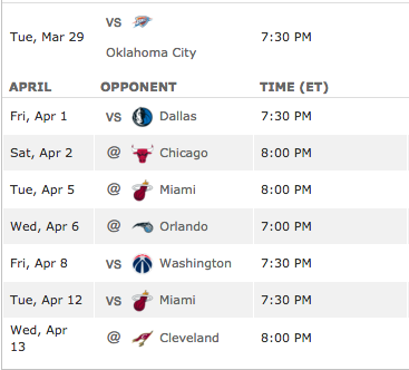 Detroit's remaining schedule - Only Orlando is out of playoff contention
