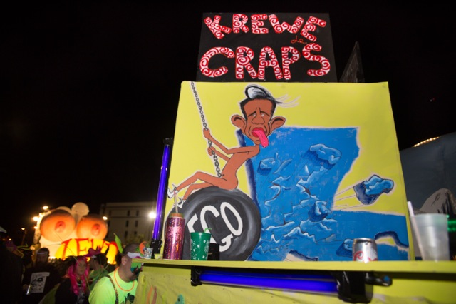 Governor Jindal riding his ego on a satirical float ©2014 Julie Dermansky